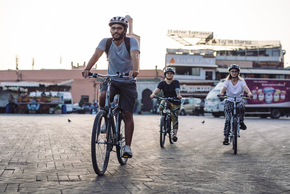Cycling in the Jemaa el-Fnaa Souk